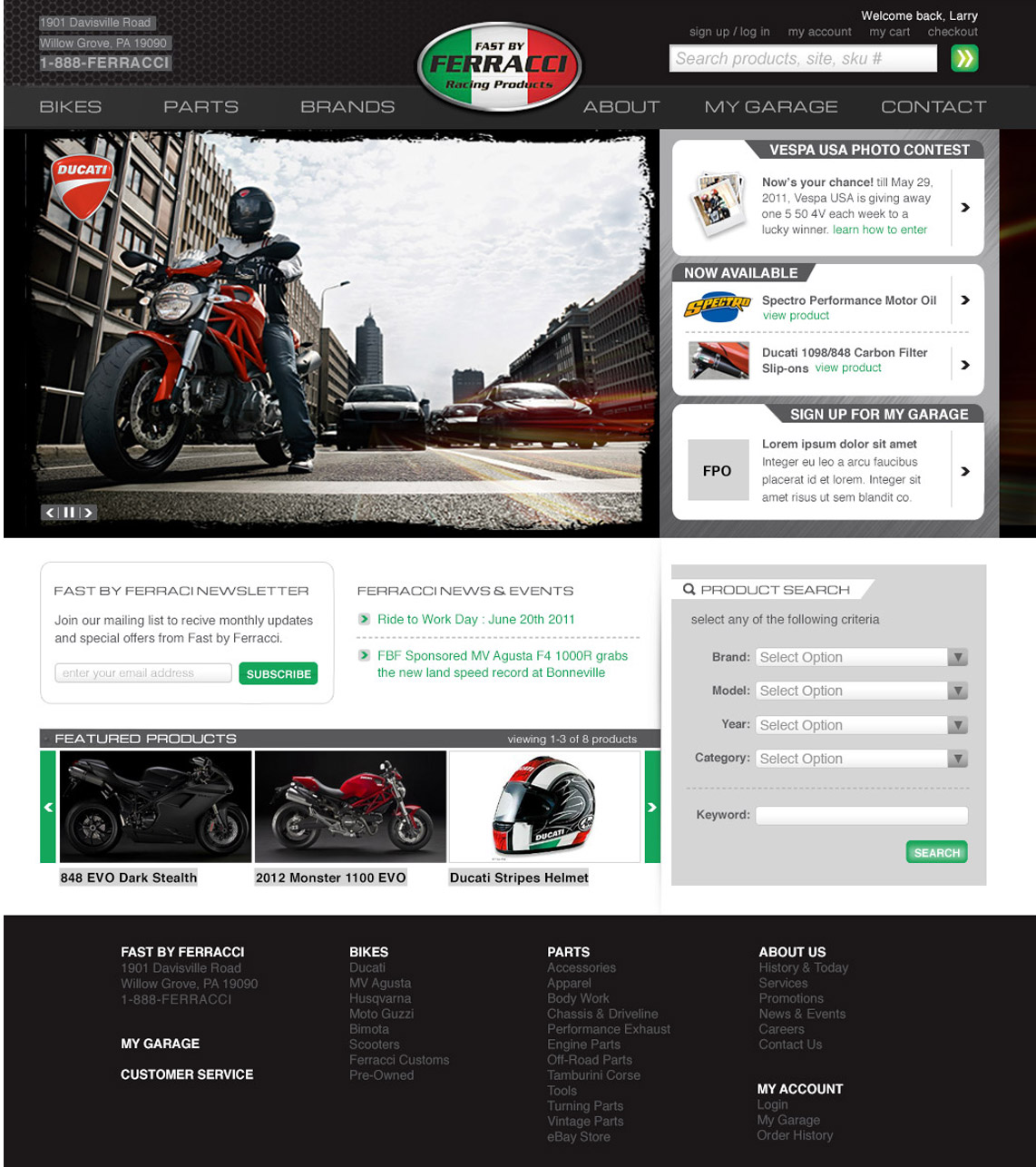 ferracci website design